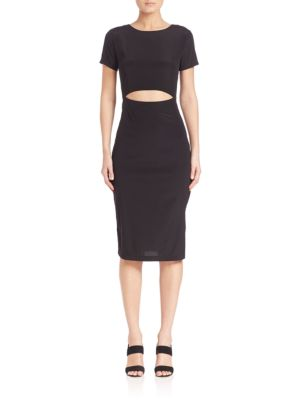 Solid Silk Cutout Body-Con Dress