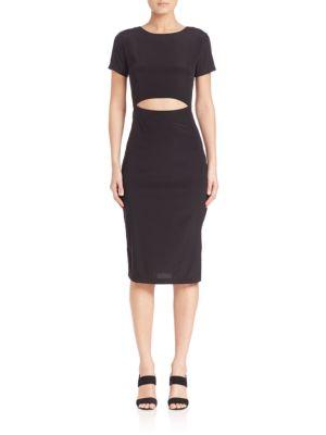 Solid Silk Cutout Body-Con Dress