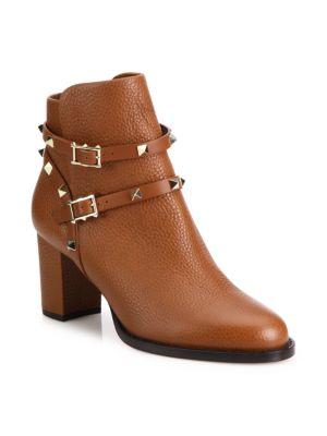 Rockstud Pebbled Leather Block Heel Booties