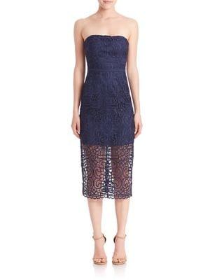Geometric Floral Strapless Dress