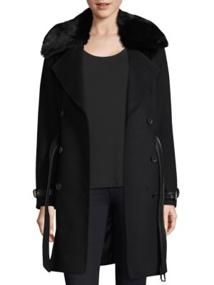 Trench Coat with Detachable Fur Collar