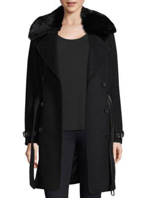 Trench Coat with Detachable Fur Collar plus size,  plus size fashion plus size appare