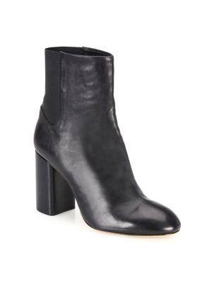 Agnes Leather Block Heel Booties