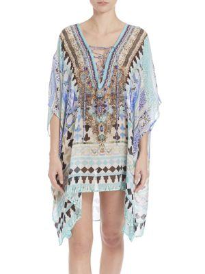 Short Lace-Up Silk Caftan Coverup plus size,  plus size fashion plus size appare