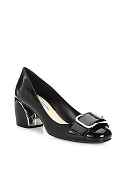 prada red and black shoe with silver hill