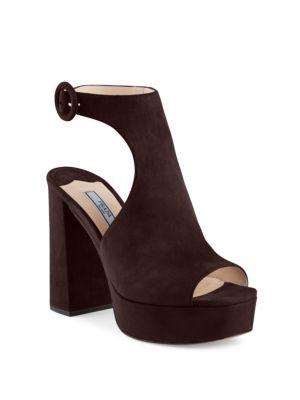 Cutout Suede Peep-Toe Platform Sandals