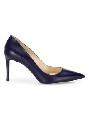 Saffiano Leather Point-Toe Pumps