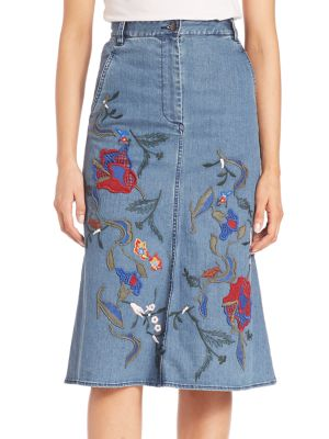 Silk Marisol Embroidery Front Slit Mid Skirt