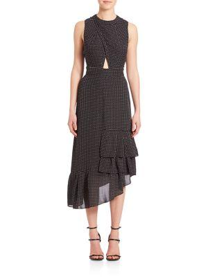 Silk Cut Out Ruffle Dress