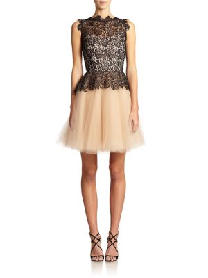 Karla Organic Lace & Tulle Peplum Dress