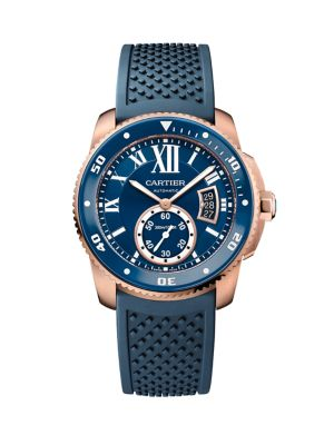 Calibre de Cartier Diver 18K Pink Gold, ADLC Stainless Steel & Rubber Strap Watch