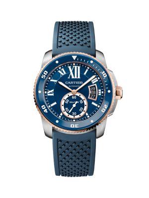 Calibre de Cartier Stainless Steel, 18K Pink Gold & Blue Rubber-Strap Diver Watch