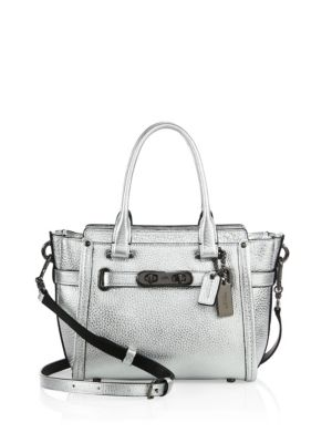 coach female swagger small pebbled leather satchel