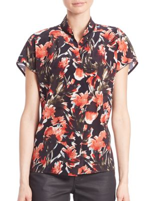 Eloise Printed Silk Blouse plus size,  plus size fashion plus size appare