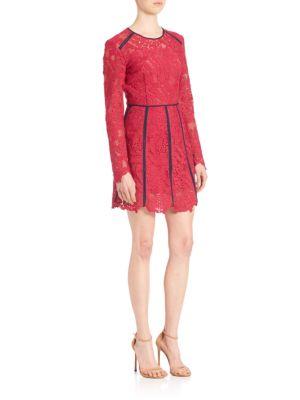 Lace Contrast-Trim Dress