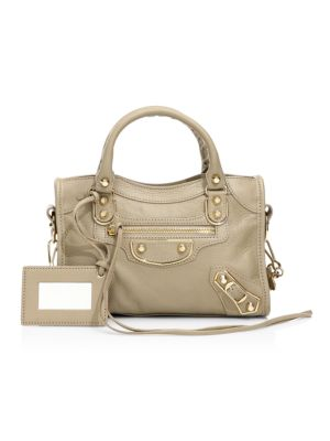 Mini Classic City Metallic Edge Leather Satchel