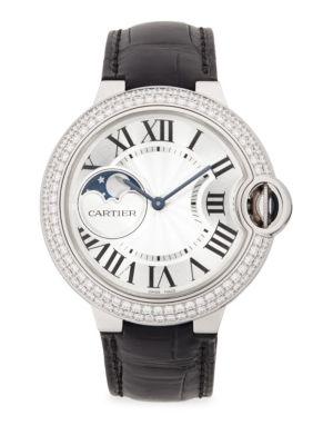 Ballon Bleu de Cartier Diamond, 18K White Gold & Alligator Strap Watch 0400090165688