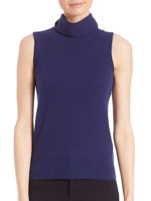 COLLECTION Sleeveless Cashmere Turtleneck Shell