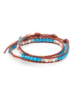 Pearl, Turquoise & Amazonite Leather Wrap Bracelet