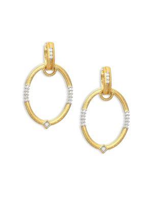 """Lisse Diamond & 18K Gold Oval Earring Charm Frames/0.7"""""""