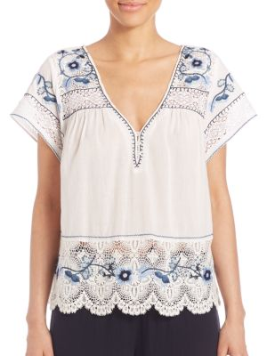 Kerala Embroidered Short-Sleeve Top by Calypso St. Barth