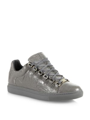 Leather Lace-Up Trainer Sneakers
