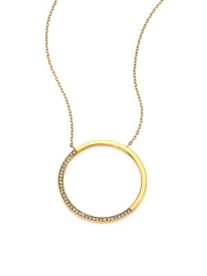 michael kors female brilliance circular pave pendant necklace