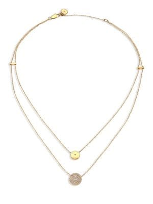 michael kors female brilliance layered disc chain necklace