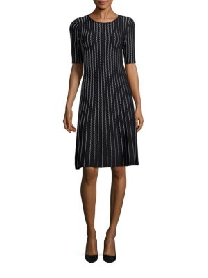 Two-Tone Piping Jacquard Knit Dress