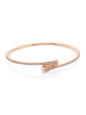 Cleo By Marli 18K Rose Gold, Diamond & Agate Bangle Bracelet