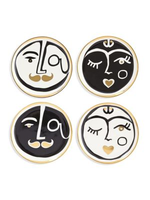 Set of Four Marseilles Porcelain Coasters