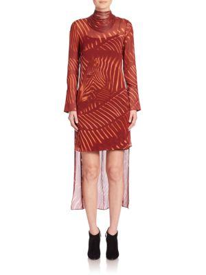 Zebra Print Masai Collar Silk Dress
