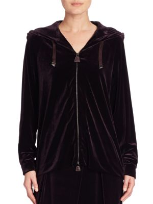 Stretch Velour Zip-Front Hoodie