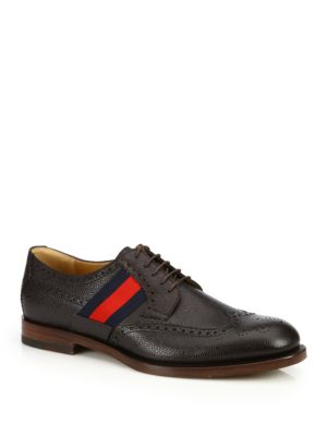 gucci male strand wingtip leather oxfords