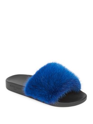Women's Mink Fur & Rubber Slides