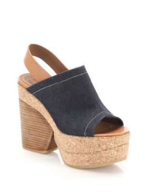 Edith Denim & Leather Wedge Sandals