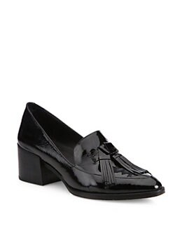 Rebecca Minkoff Edie Tassel Metallic Leather Block-Heel Oxfords