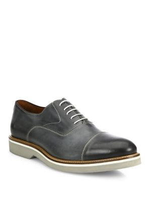 Burnished Cap Toe Leather Lace-Up Shoes