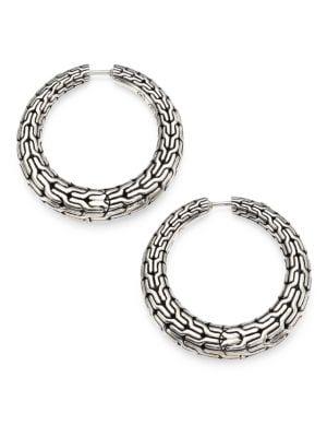 Classic Chain Sterling Silver Hoop Earrings