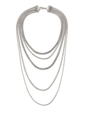 Classic Chain Sterling Silver Multi-Strand Necklace