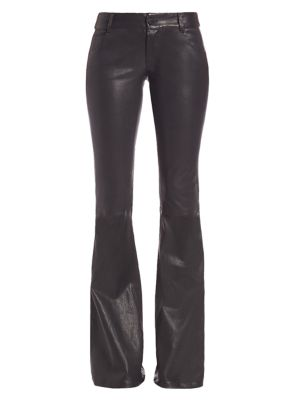 Low-Rise Leather Bell Pants