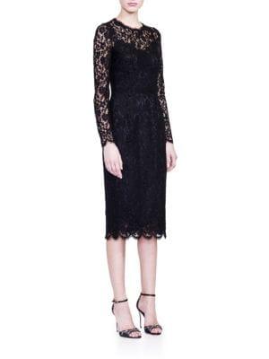 DOLCE & GABBANA Floral-Lace Long-Sleeve Dress, Black