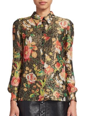 Vintage Floral Lame Blouse plus size,  plus size fashion plus size appare