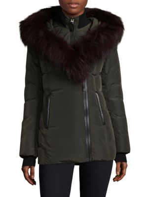 Adali Fur Trim Hooded Down Jacket