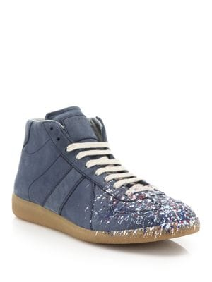 Paint Mid-Top Replica Calf Leather Sneakers