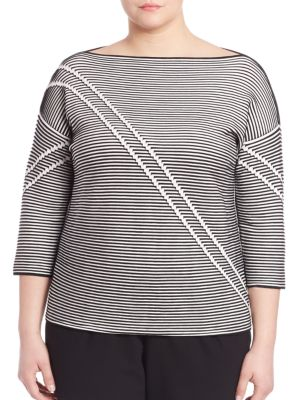 Crepe Pintuck Jacquard Sweater plus size,  plus size fashion plus size appare
