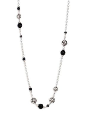 STERLING SILVER DOT STATION NECKLACE WITH BLACK SPINEL, BLACK SAPPHIRE AND OBSIDIAN, 36