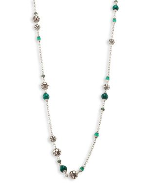 Image of Batu Dot Malachite, Green Onyx, Tsavorite & Sterling Silver Sautoir Necklace