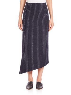 Asymmetrical Pinstripe Midi Skirt