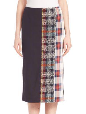 Mixed Plaid Cotton Midi Skirt